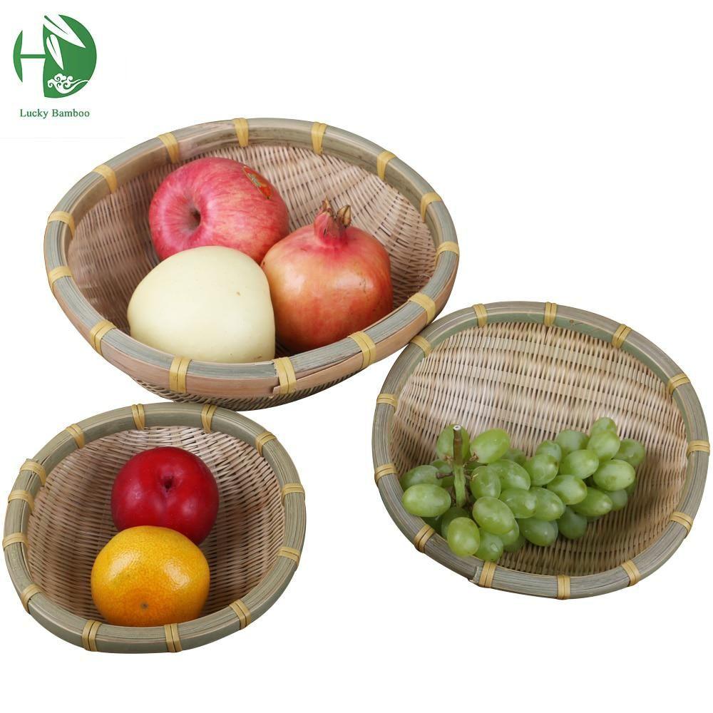 Natural bamboo fruit basket fruit tray storage handmade vegetables