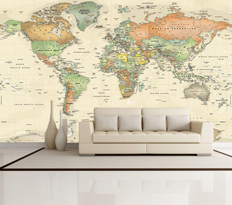World Map Decal Giant World Map Mural Antique Oceans Political Map Large World Map Removable Wallpaper Peel Stick Fabric Map Wall Mural World Map Mural World Map Wallpaper