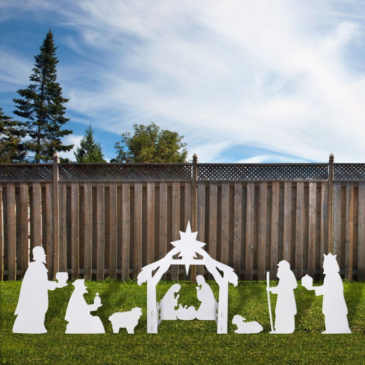 Unomor Outdoor Nativity Scene Christmas Decoration Silhouette Style About 4 Feet Tall Outdoor Nativity Scene Outdoor Nativity Outdoor Christmas Decorations