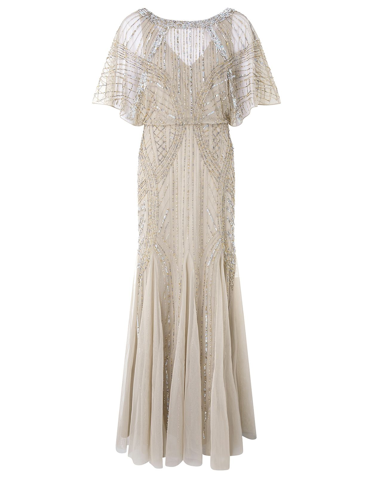 Monsoon   Skylar Embellished Maxi Dress   Grey   UK 12 US