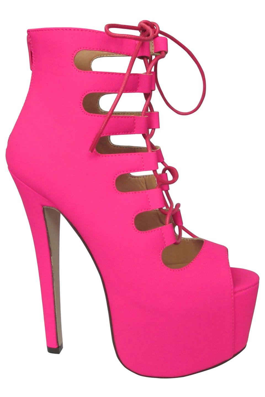 9c5c5738412b Glaze Nelly 63 Nubuck Peep Toe Lace Up Heel in Hot Pink - Beyond the Rack   34.99