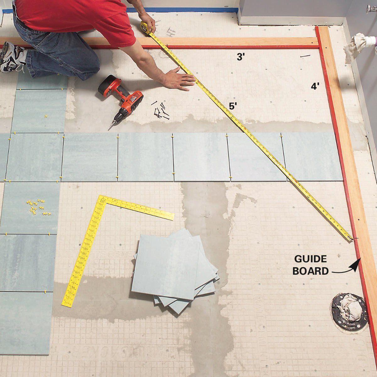 How To Lay Tile Install A Ceramic Tile Floor In The Bathroom The Family Handyman Ceramic Floor Tiles How To Lay Tile Tile Floor