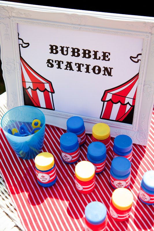 Big Top Circus Party Themed Bubble Labels by JoStudioPartyPaperie / Complete Printable Collection for a Big Top / Circus Themed Party by JoStudioPartyPaperie / Kids Party / Circus Birthday Party / Kids Parties / Stationery / Jo Studio / Circus Tent / Red and Blue / Printables and Styling by Jo Studio