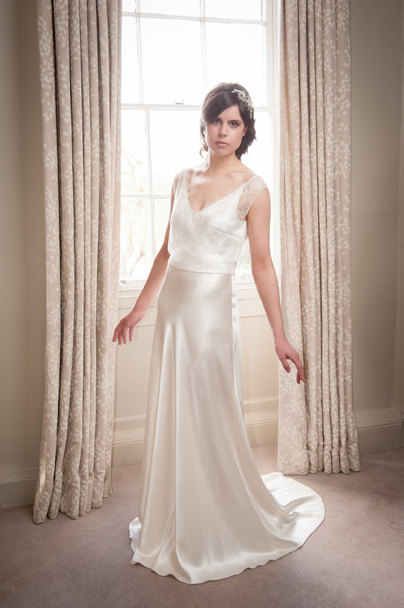 SAMPLE SALE! Couture Silk Satin Bias-Cut Wedding Gown Dress | Silk ...