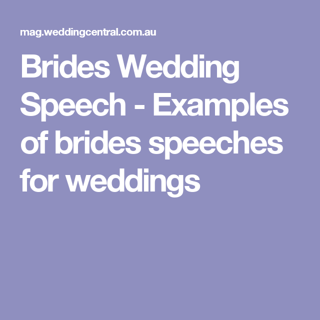 Examples Of Brides Speeches For