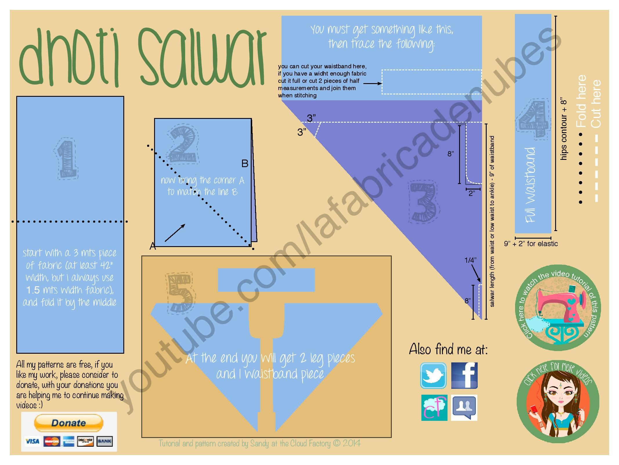 How to make a dhoti salwar | Pinterest | Patterns, Sewing patterns ...