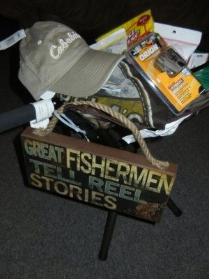 Fisherman gift basket gift baskets pinterest for Fishing gifts for dad