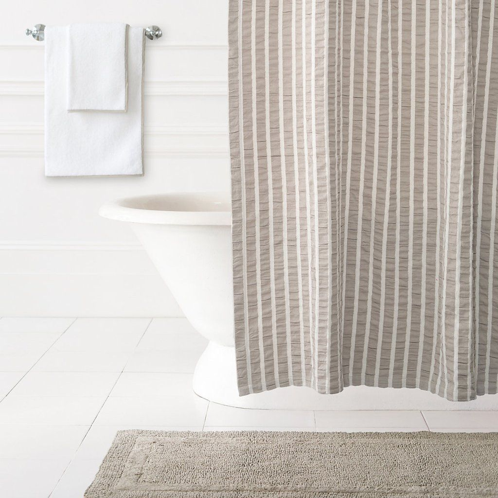 Parker pearl grey shower curtain design by pine cone hill bathroom
