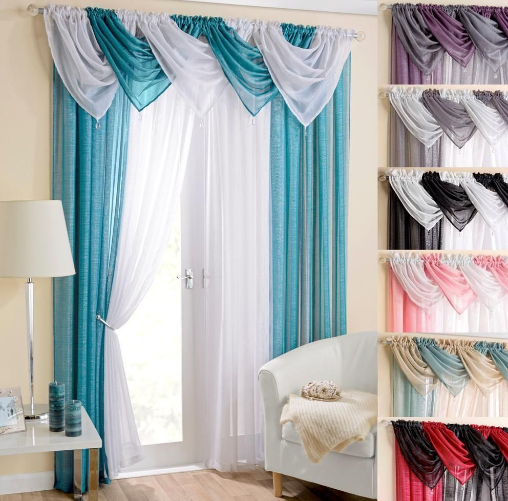 GLITZ SPARKLE 9 PIECE BEADED SWAG AND VOILE CURTAIN SET ~ Many ...