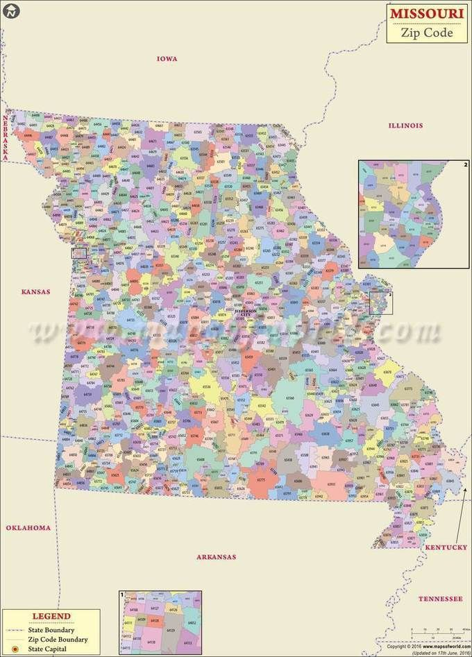 Missouri Zip Code Map Missouri Zip Code Map, Missouri Postal Code | Travel Destinations
