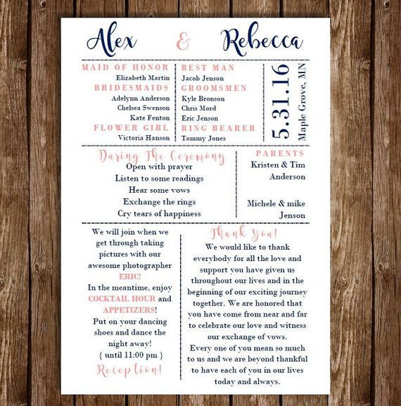 funny wedding program one sided wedding planning pinterest
