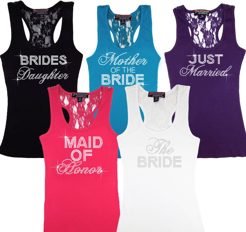 Gifts For Pre Wedding Bride: Big Bling Bridal Party Lace Rackerback Tanks Are Perfect