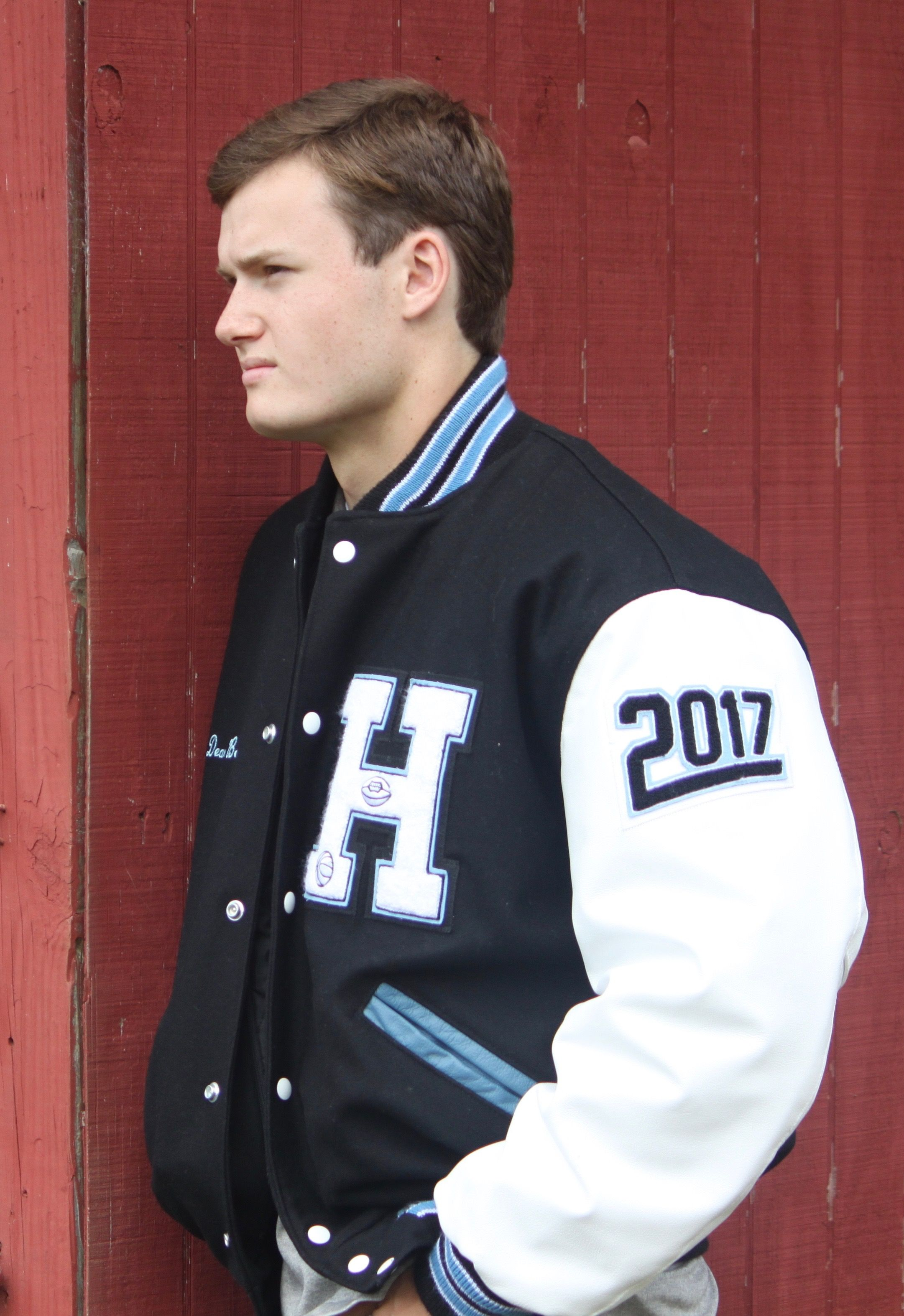 2017 boy senior picture letterman jacket football