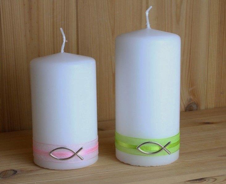 Kerze Mit Bandern Und Einem Fisch Sophias Erstkommunion Kerzen