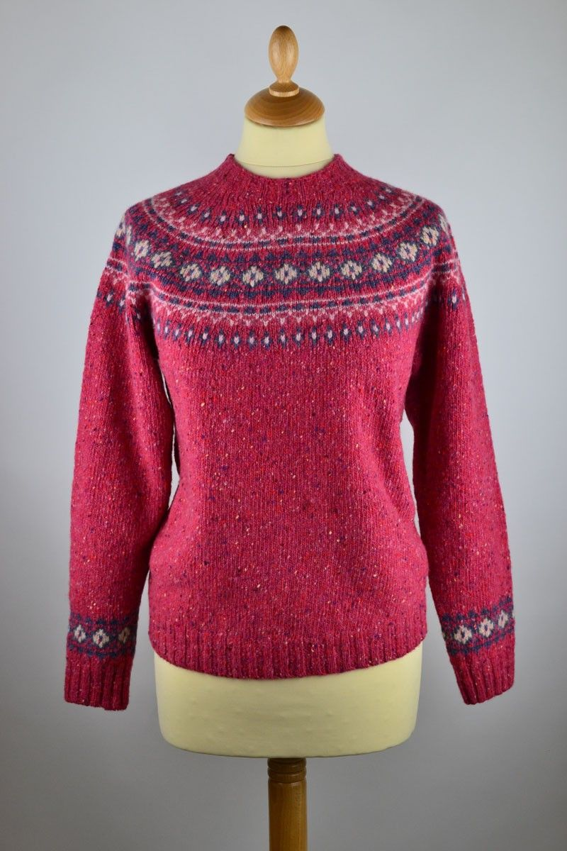 b447153ad404b Ladies Scottish Wool Yoke Fairisle Jumper. Pink ...