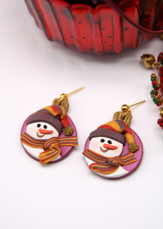 Christmas Jewelry Hand Painted Snowflake Christmas Earrings Handmade Earrings Snowman Earrings Gift Box Winter Snowman Jewelry