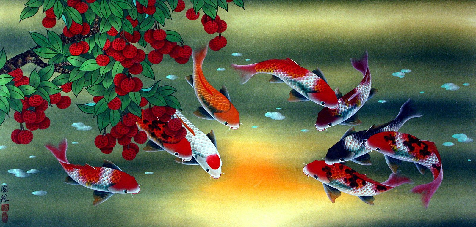 artist famous watercolo fisg | Huge Koi Fish and Lychee Fruit Painting - Asian Koi Fish Paintings .