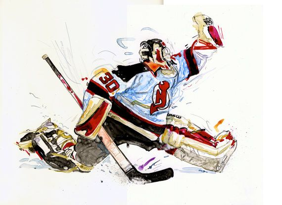 Watercolor Portrait Painting Of New Jersey Devils Hockey Player