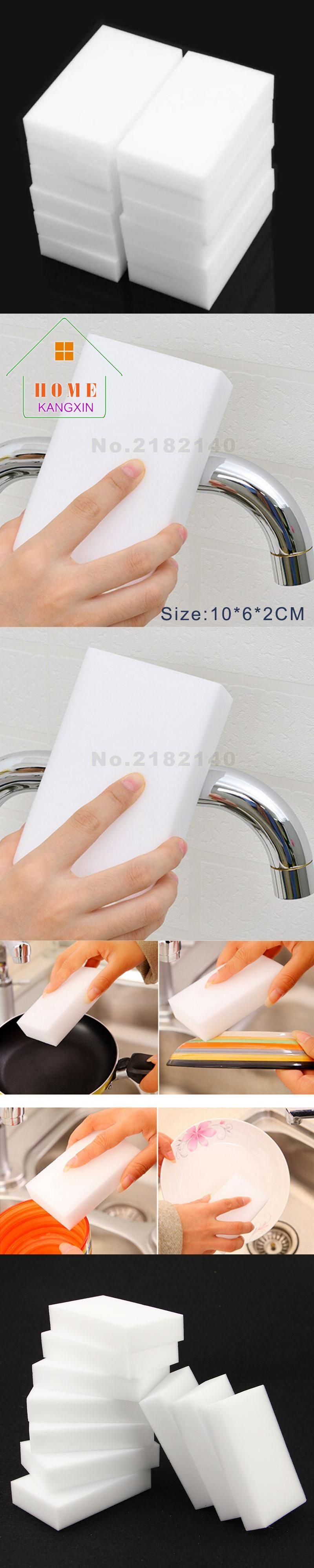 1000pcs/lot White Magic Sponge Eraser Melamine Cleaner 100*60*20mm ...