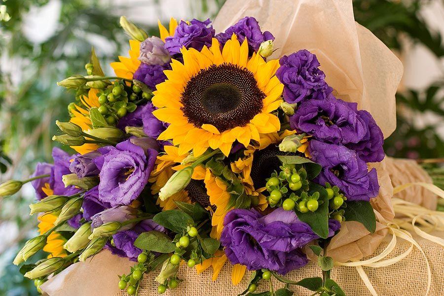 Beautiful Centerpiece Of Sunflowers Purple Green Portfolio