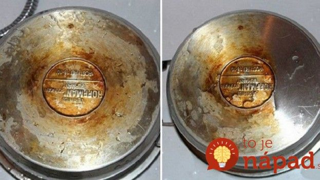 Jednoduchý trik, ako vyčistiť pripálené hrnce/  ¼ šálky peroxidu  ¼ šálku jedlej sódy