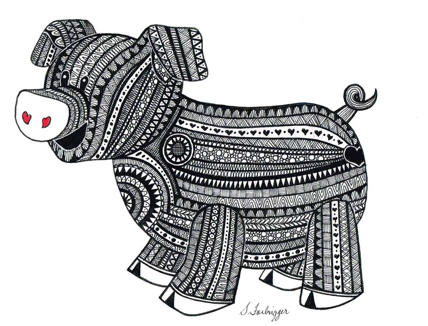 Black and White Zentangle Pig drawing Print by