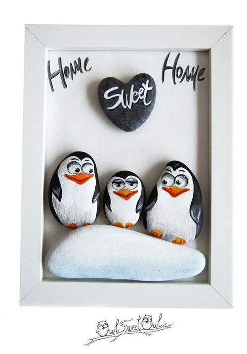 Unique Handmade 3-D Painting with Family Penguins от owlsweetowl: