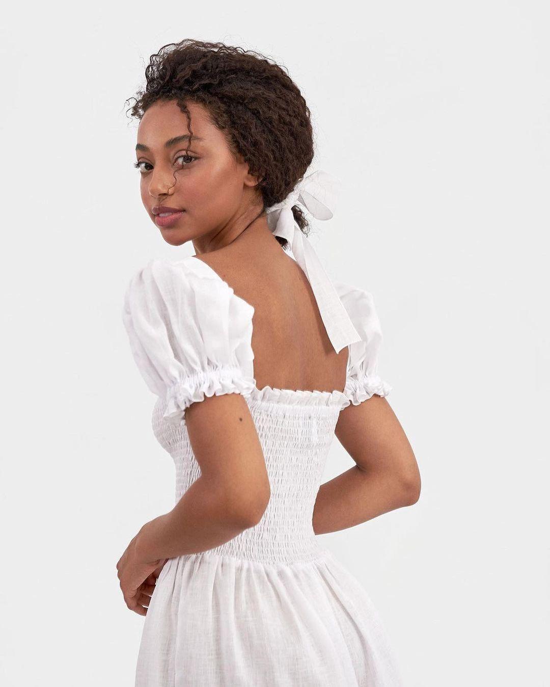 Belle Linen Dress In White Sleeper In 2021 Flower Girl Dresses Linen Dress White Dress [ 1348 x 1080 Pixel ]