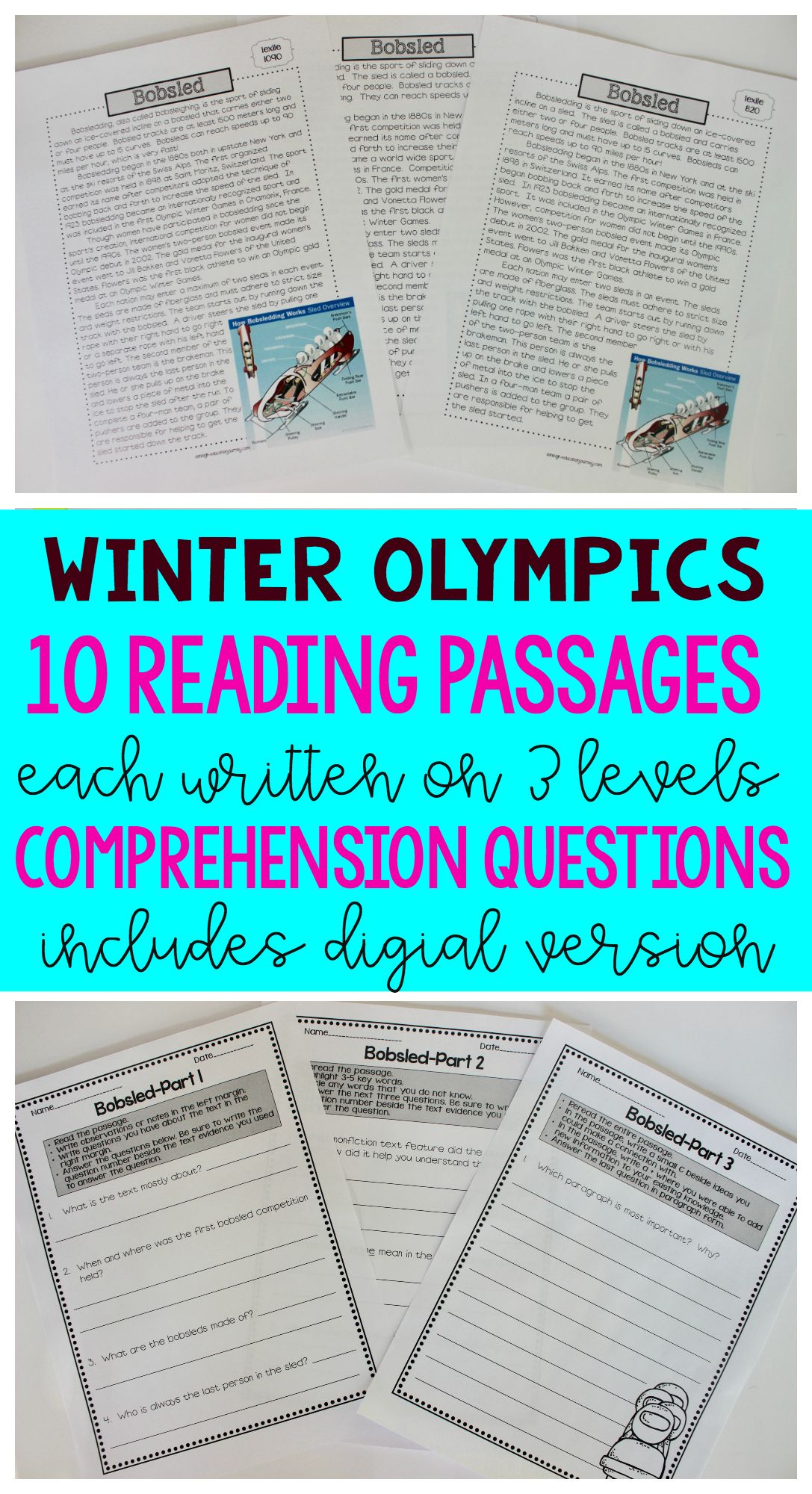 hight resolution of Winter Games - Close Reading Passages and Questions   Reading passages