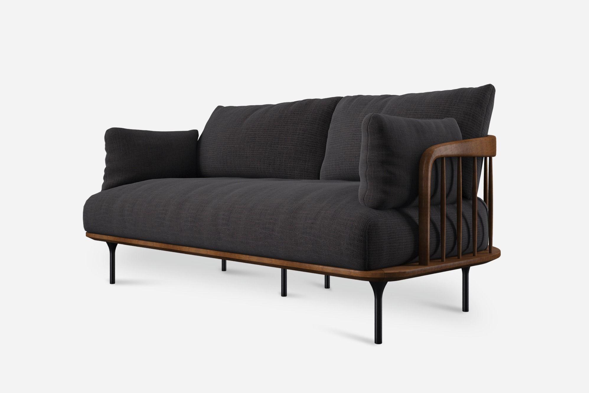 pin ebony fabric marino loveseat frame solid black san wood