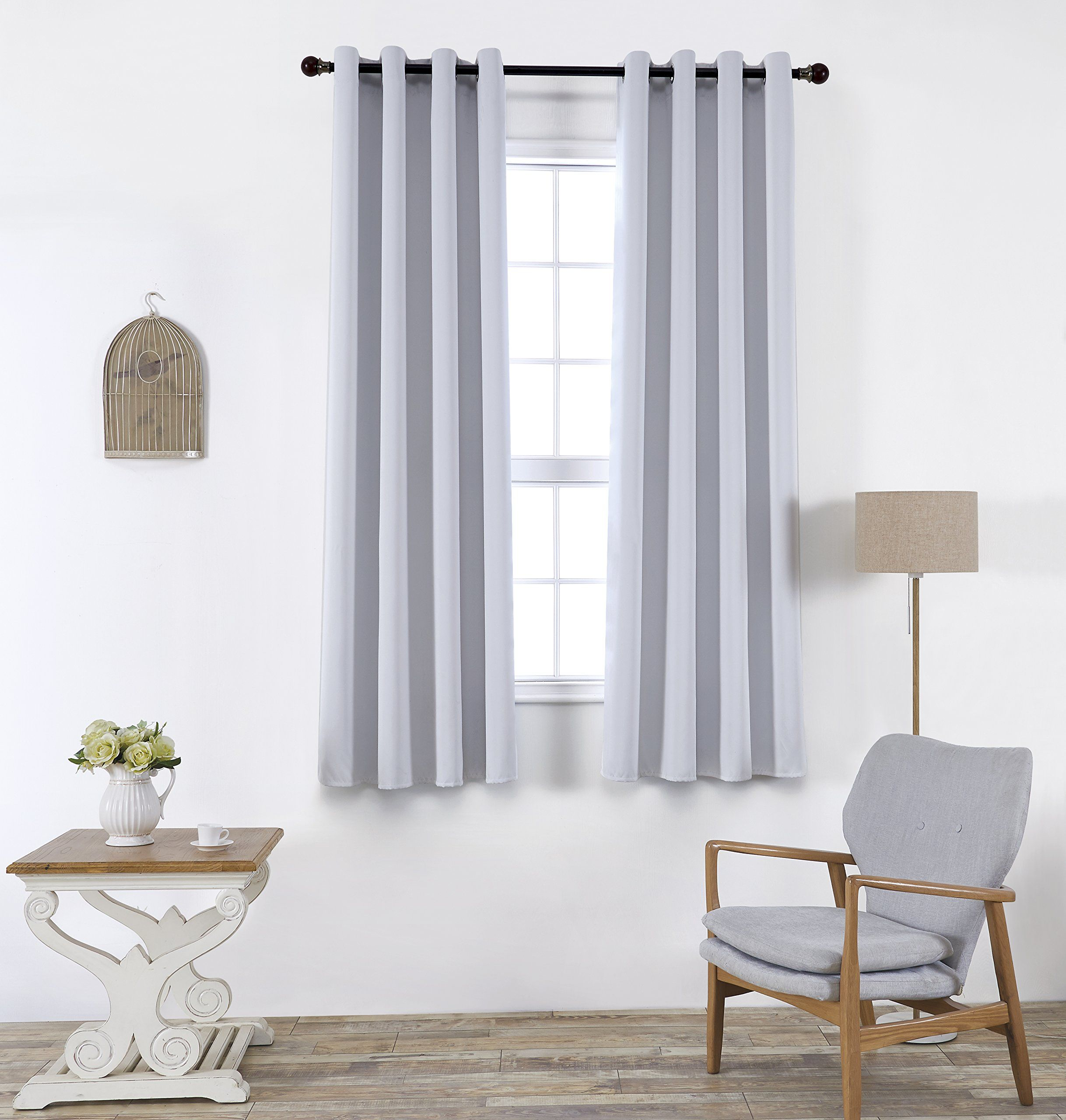 Blackout Curtains 1 Panel 52X63 Inches Greyish White Thermal Insulated