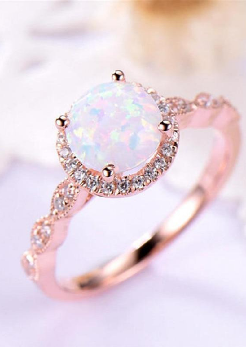 73bc7d9d234695 FREE SHIPPING Opal Promise Ring, Gift Box Packaging, Types Of Rings, Wedding  Band