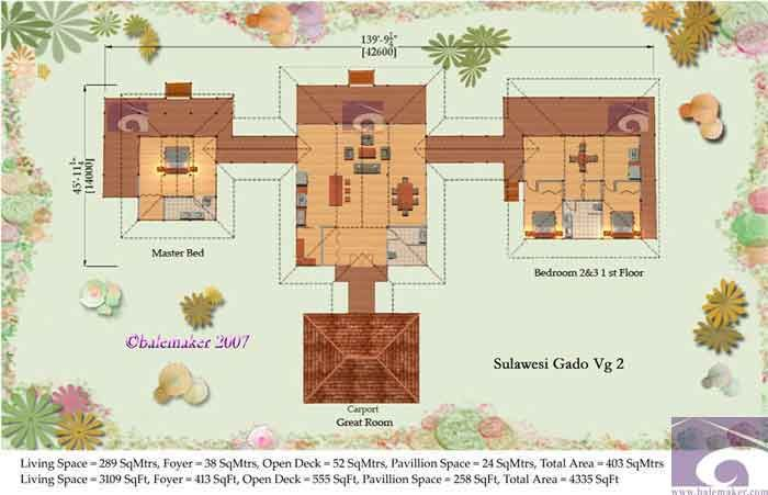 Tropical house plans sulawesi gado house plans balemaker for Tropical style house plans
