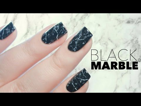 Black Stone Marble Nails In One Minute Youtube Stone Nail Art