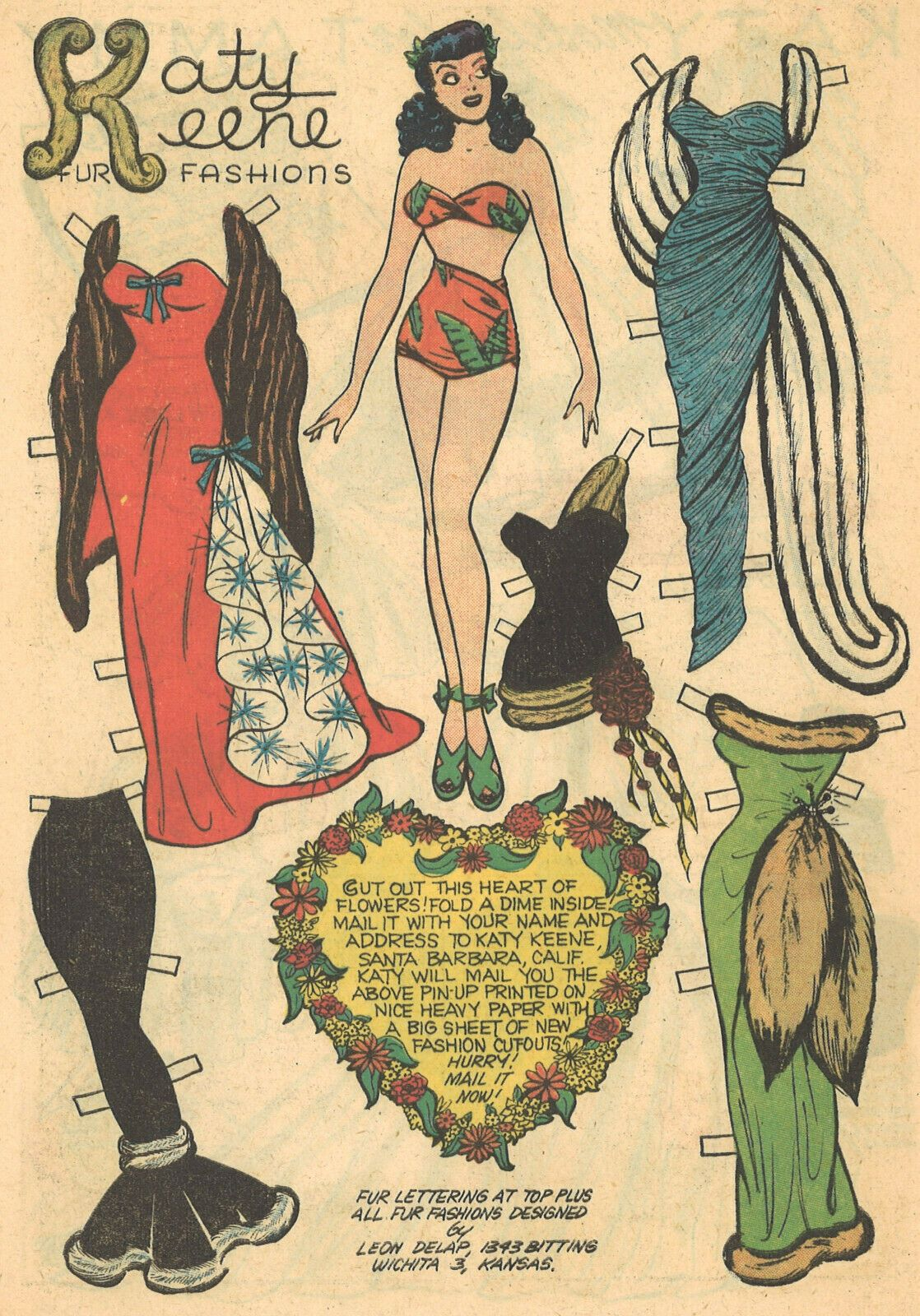 THREE Vintage Katy Keene Comic Paper Doll Pages 20s