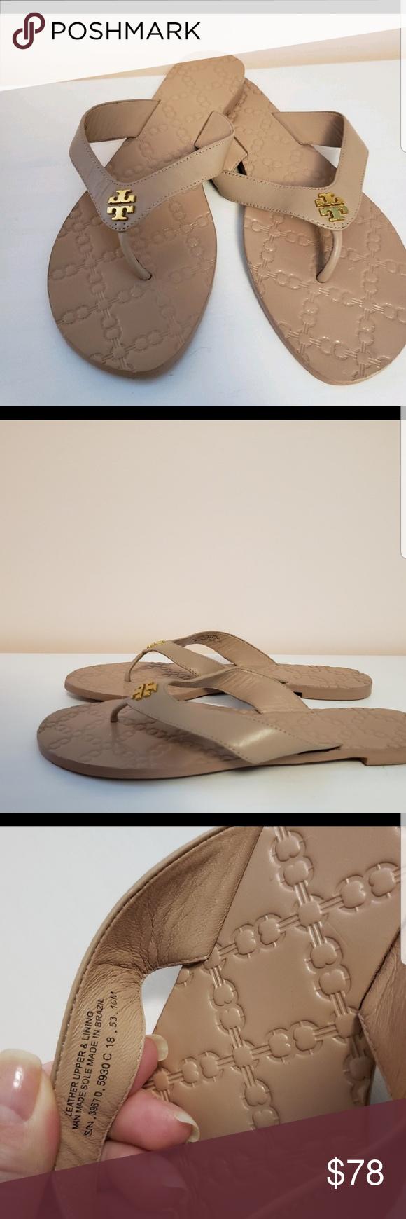 4c038b1ce Tory Burch Monroe Light Makeup Leather Thong Sanda Tory Burch Monroe Light  Makeup Leather Thong Sandals Women s Size 10M