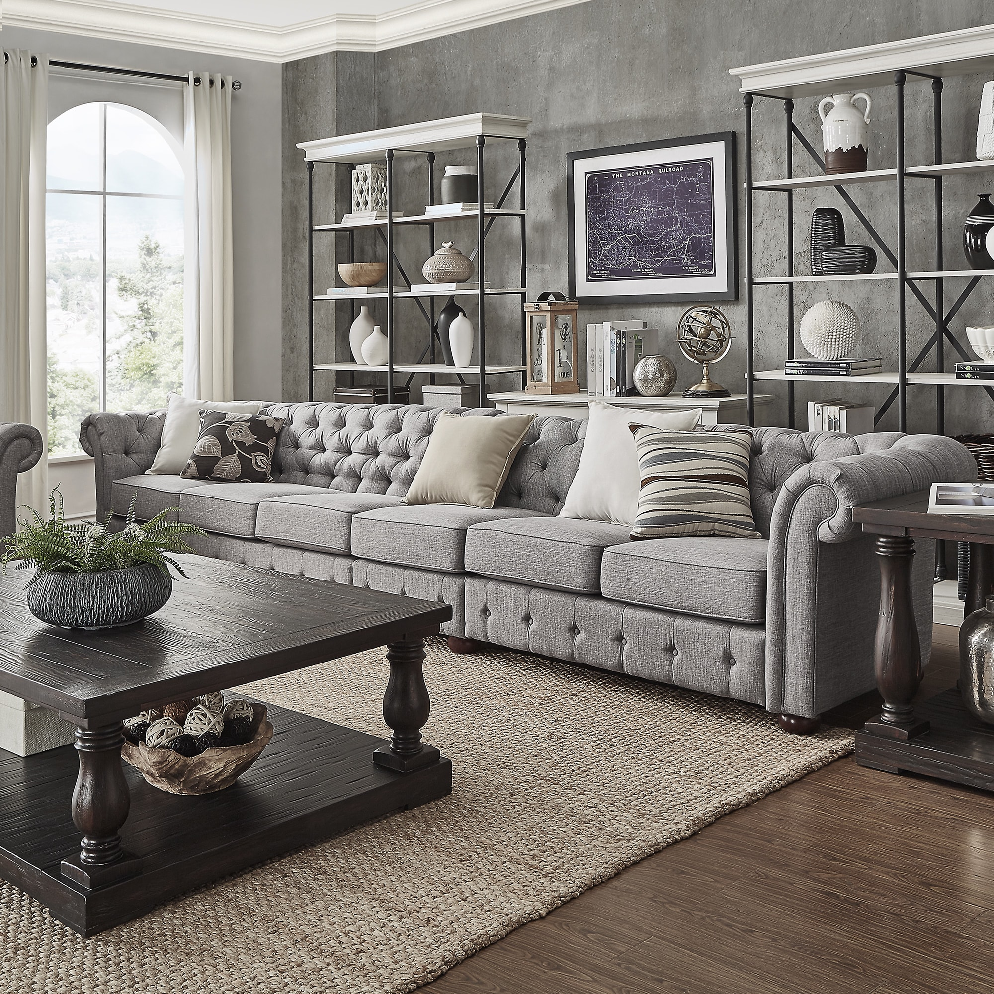 Knightsbridge Grey Linen Oversize Extra Long Tufted Chesterfield Modular  Sofa By INSPIRE Q Artisan (