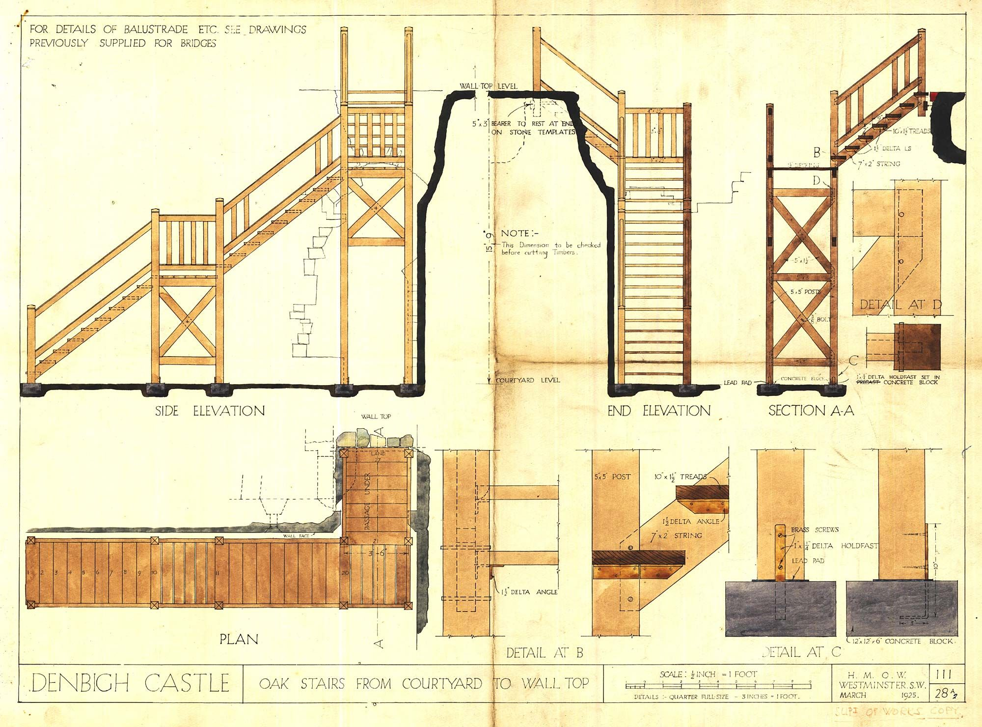 plans elevation and section drawings of stairs to wall