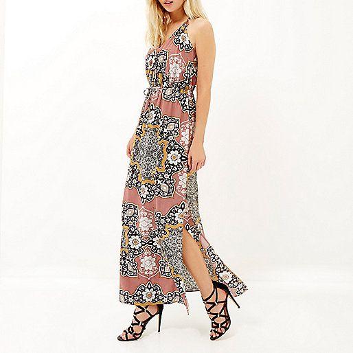 Pink floral print halter neck maxi dress - maxi dresses - dresses - women