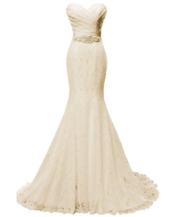 Solovedress Women s Lace Wedding Dress Mermaid Evening Dress Bridal Gown  with Sash (US 2 e32415f76