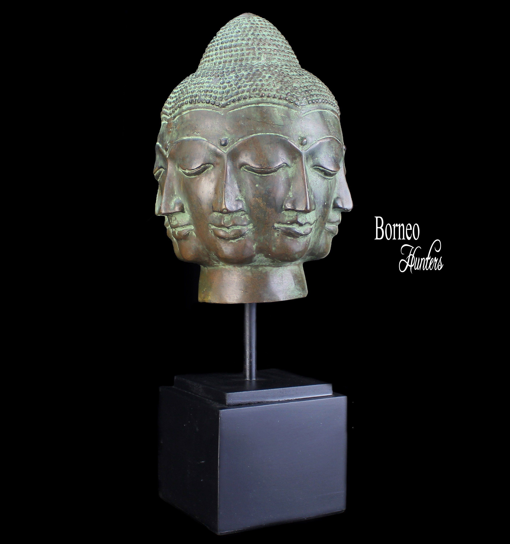 BRONZE CAST BUDDHIST MAITREYA BUDDHA STATUE WALKING STICK HEAD HANDLE