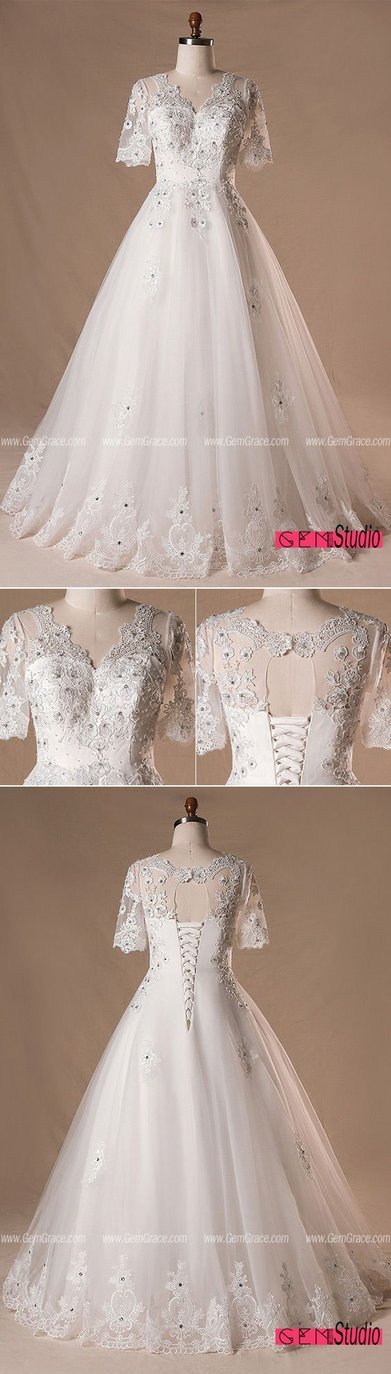 Plus size beaded lace tulle wedding dress with short sleeves mn