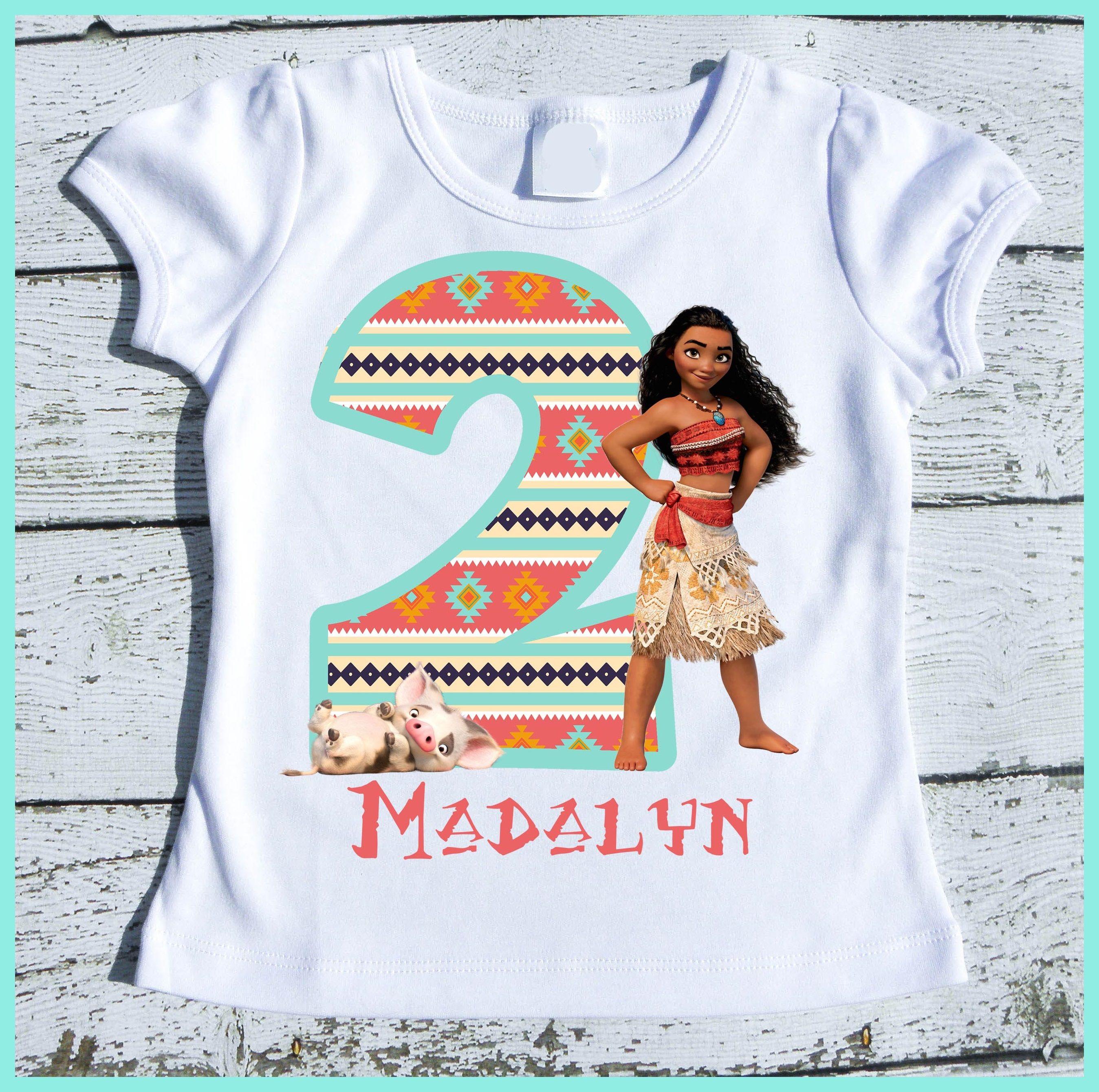 Personalized Moana Birthday Tee Shirt