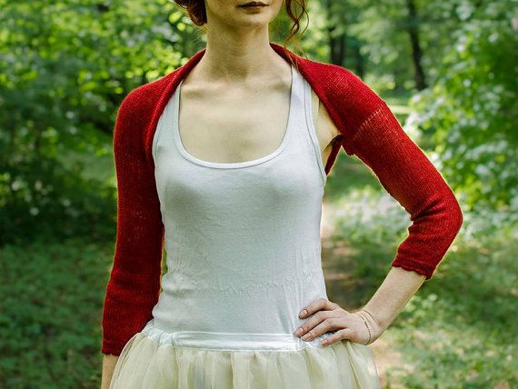 Red Wedding Shrug Bolero Brick Red Bridesmaids by supersoftknits ...