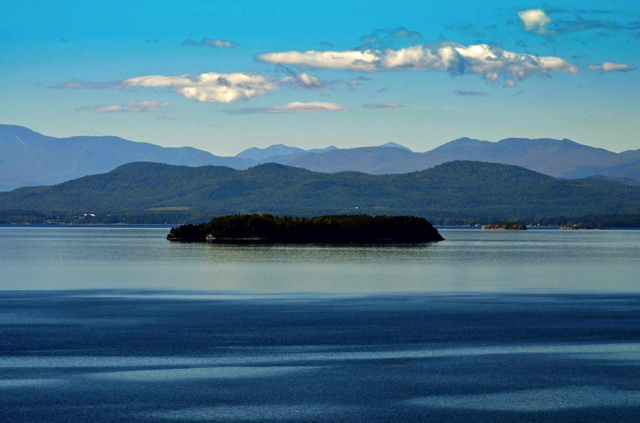 Lake Champlain from Burlington, Vermont, looking toward the ...