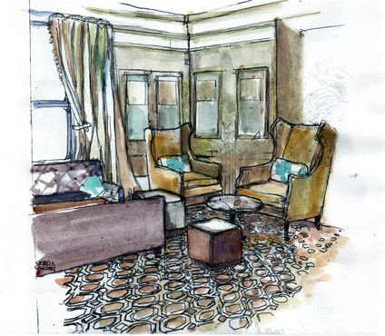 Sketch proposed lobby at  Four Seasons Hotel Carlingford
