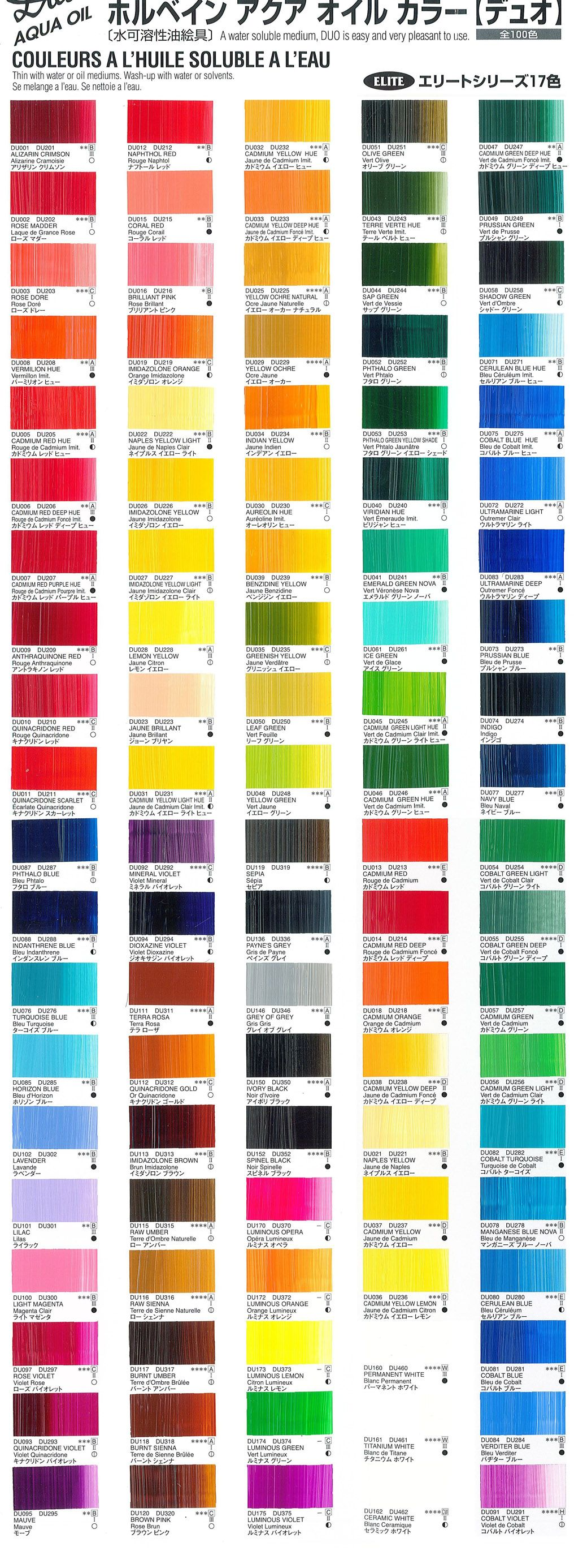 Folk art acrylic paint color chart - Holbein Duo Color Chartspainting Techniquesart