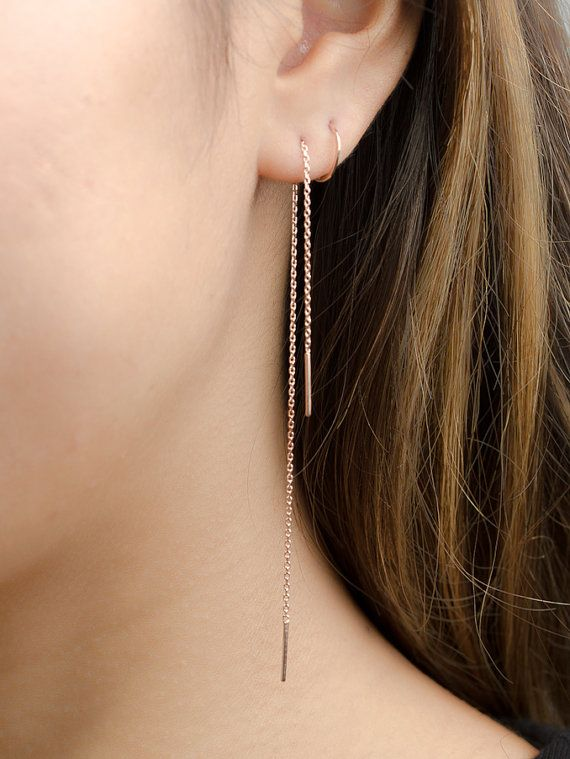 Long Chain Earrings Rose Gold Threader Delicate Stick Minimalist Edgy Jewelry Hand Made Gift For Mom Ea023
