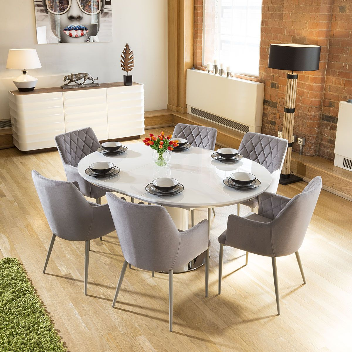 Dining Table +6 Ice Grey Carver