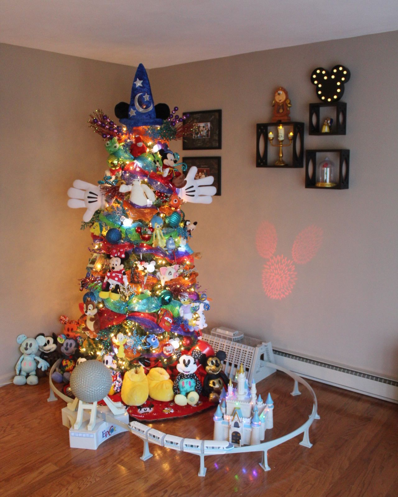 Disney Christmas Tree.Our Annual Disney Themed Tree Complete With Monorail And